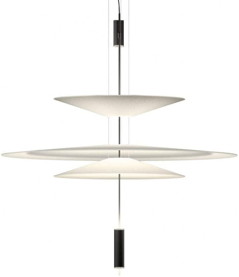 WEM Modern Dining Room Led Hanging Light Aluminum Spotlight Height Adjustable Chandelier Creative Round White Acrylic Pendant Lamp,21W/1480Lm,Small Living Room Study,Shade:Ø36Cm+Ø68Cm+Ø36Cm,White Lig