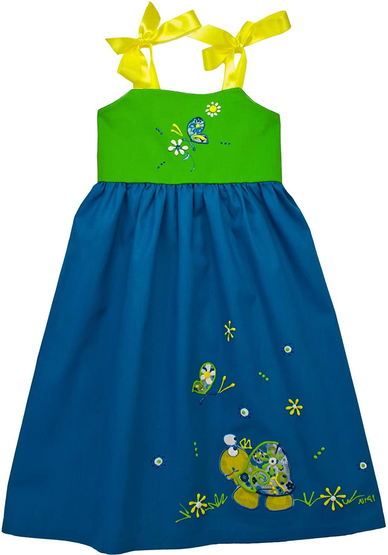 NIGI One-of-a-Kind Rainbow Dress - Sky Blue & Green w/Turtle - 4T