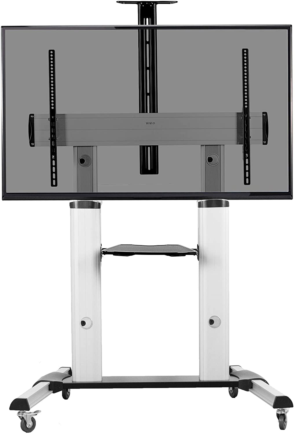 VIVO Ultra Heavy Duty Mobile 60 to 100 inch TV Stand for Flat Screens, Adjustable, Rolling TV Cart Mount with Wheels (STAND-TV22S)