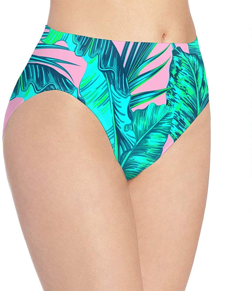 Tropical Palm Leaves Pink Jungle Leaves Womens Seamless Underwear Low Rise No Show Panties