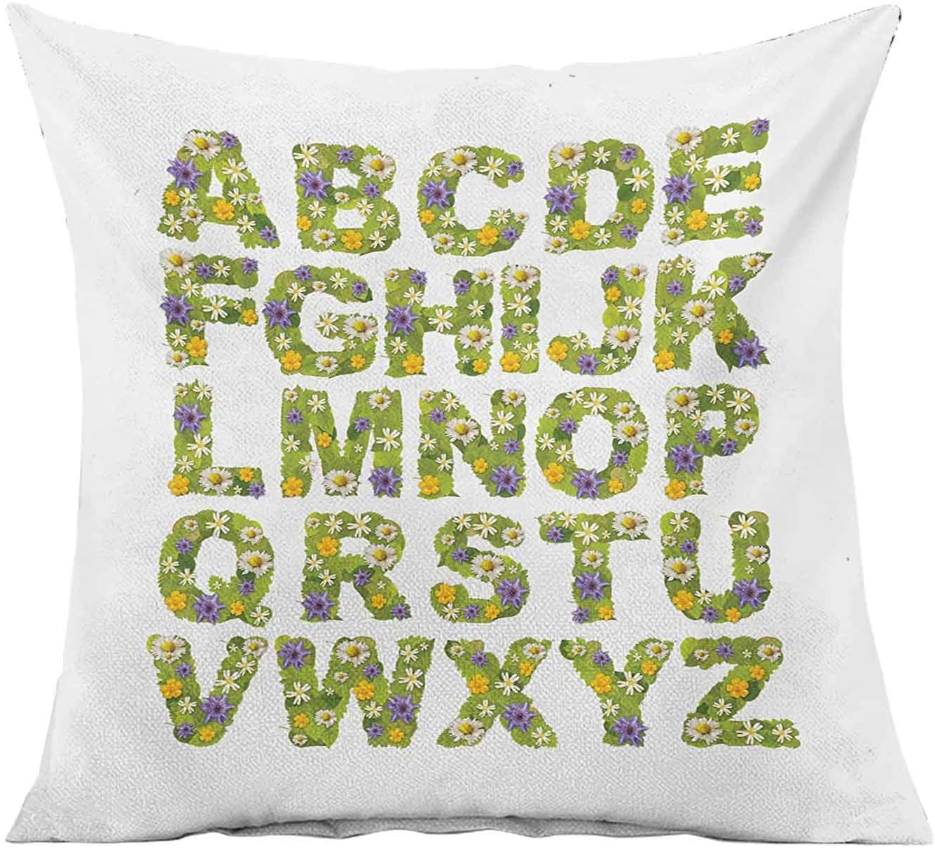 Letters Decorative Throw Pillow Cover,Green Leaves and Flowers Mother Nature Inspired Alphabet Spring Print Pillowcase Cushion Cover for Patio Couch Sofa Home Car Couch,18x18 Inches,