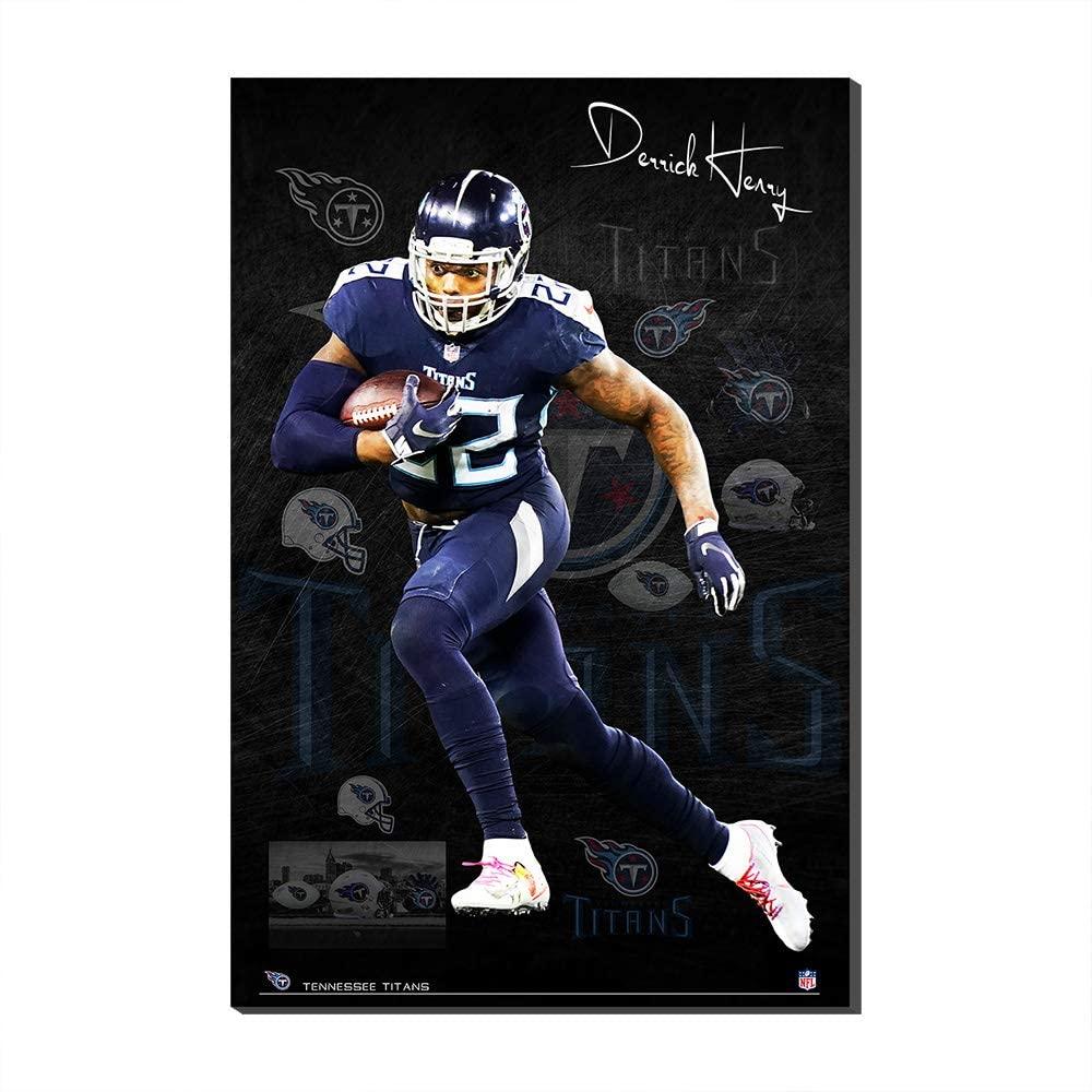 NFL SuperBowl WallPosterCanvasPrintsTennessee Titans Derrick Henry HelmetWallPosterCanvasPrints Fans Gift (Frame,50x70cm)