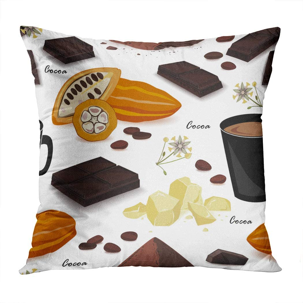 Sgvsdg Throw Pillow Covers Hot Cocoa Pod Beans Butter Liquor Chocolate Drink Powder Square Hidden Zipper Home Sofa Living Room Cushion Decor Pillowcases 20 x 20 Inch