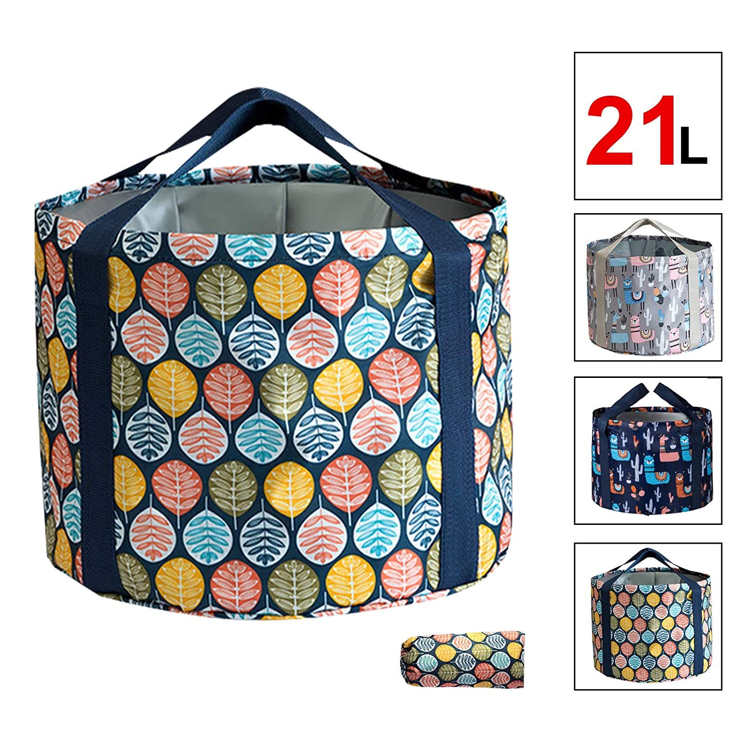 ENIVING Multifunctional Foldable Water Bucket Portable Travel Foot Bath Tub Collapsible for Soaking Feet Portable for Indoor Outdoor Cooking Picnic Camping Hiking Traveling(21L leaves)