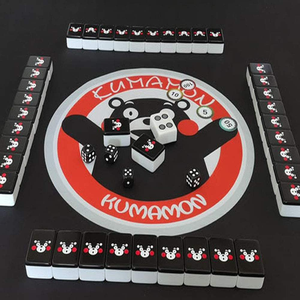 No. 01 BY Mah Jong Mahjong Jongg Majong Household Cartoon Black Kumamon 40-44mm Mahjong 144 Cards Portable Family Leisure Gift (44MM,Hand Bag +1 Meter pad)