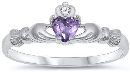 Precious Gem Jewellers Sterling Silver Irish Claddagh February Birthstone Cz Heart Ring