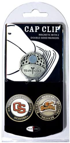 Team Golf NCAA Golf Cap Clip with 2 Removable Double-Sided Enamel Magnetic Ball Markers, Attaches Easily to Hats