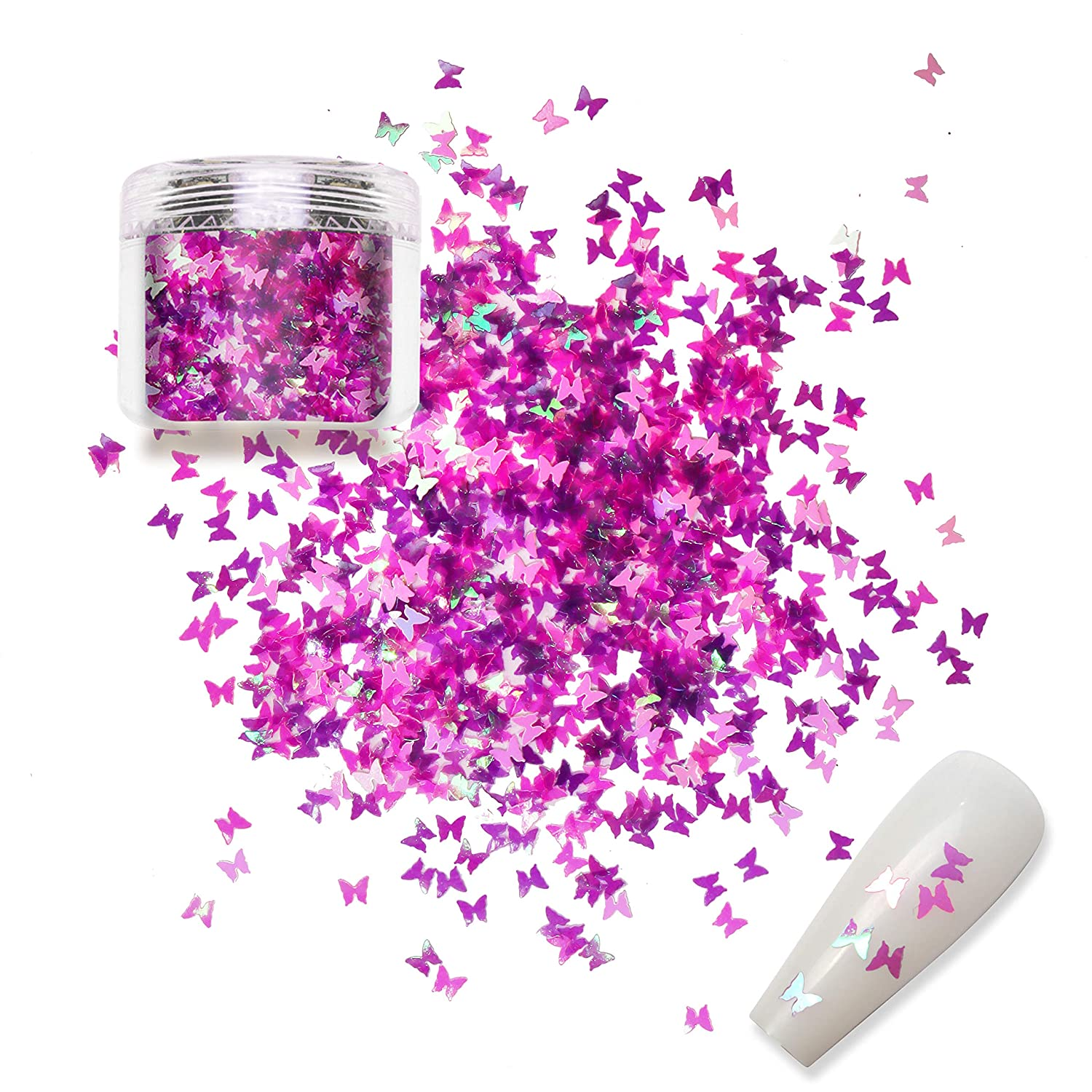 Allstarry Nail Glitter Butterfly Holographic Ultra-thin Iridescent Sequins Flakes Acrylic Nail Art Accessories for Festival Rave Face Makeup Nail DIY Decoration