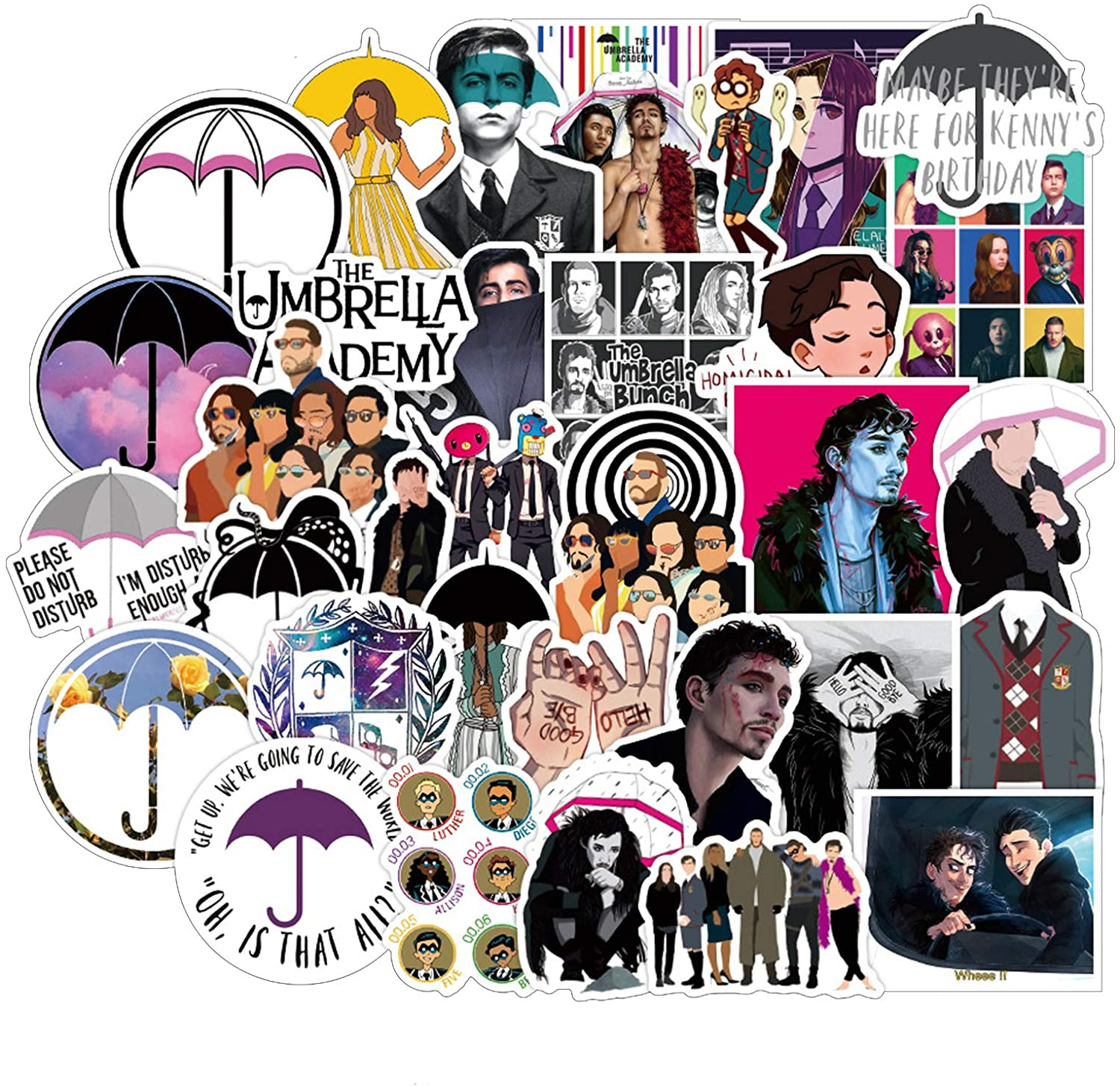 The Umbrella Academy Stickers Vinyl Waterproof Stickers for Laptop,Bumper,Water Bottles,Computer,Phone Car Stickers and Decals,Teens for Adults and car Stickers for Women 50PCS