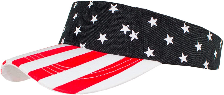 Striped Red & White Packable USA Summer Sun Visor, American Flag Swim Hat, Black, Red & White, Medium