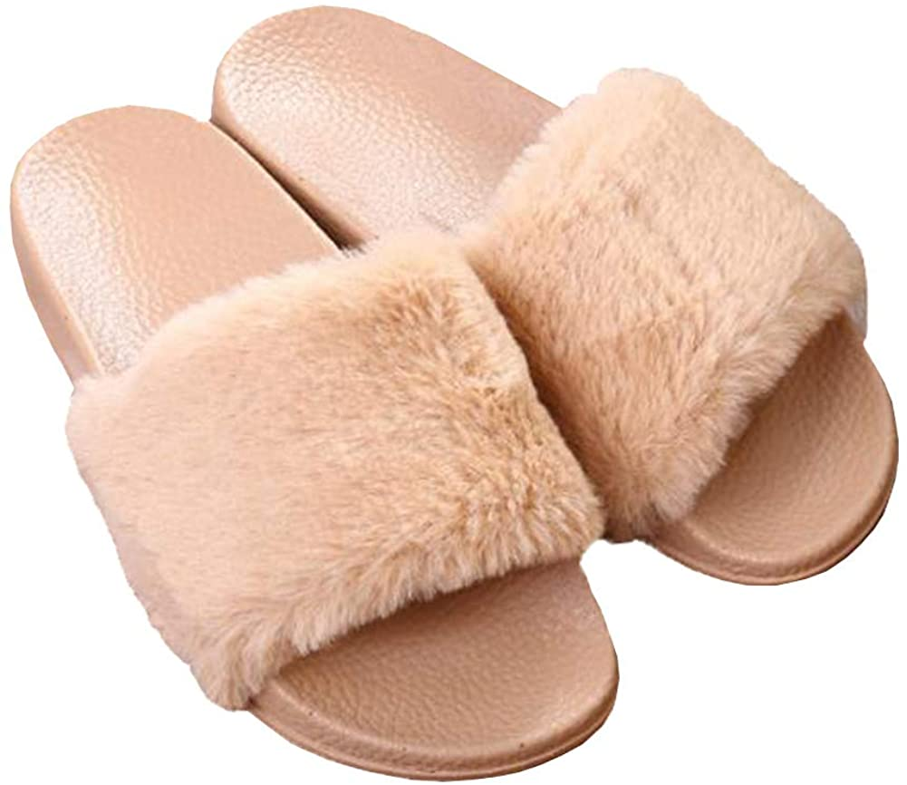 Avilego Womens Furry Slippers Open Toe Indoor Outdoor House Faux Fur Slides Flat Sandals