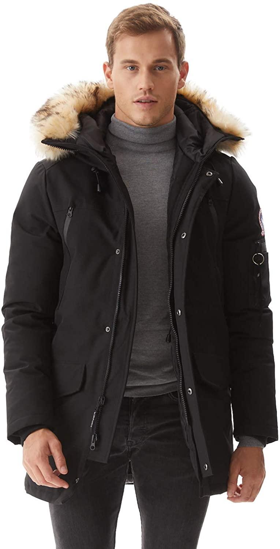 Molemsx Men's Warm Winter Down Jacket Parka Puffer Coat with Hood Faux-Fur Trim XS-3XL