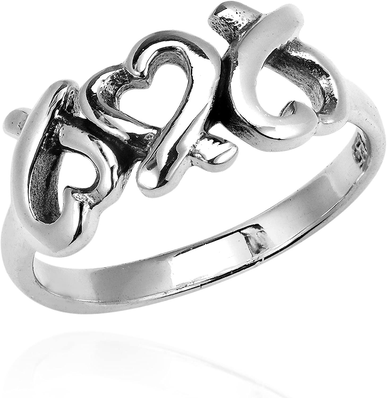 AeraVida Promise of Love Triple Loving Heart .925 Sterling Silver Ring