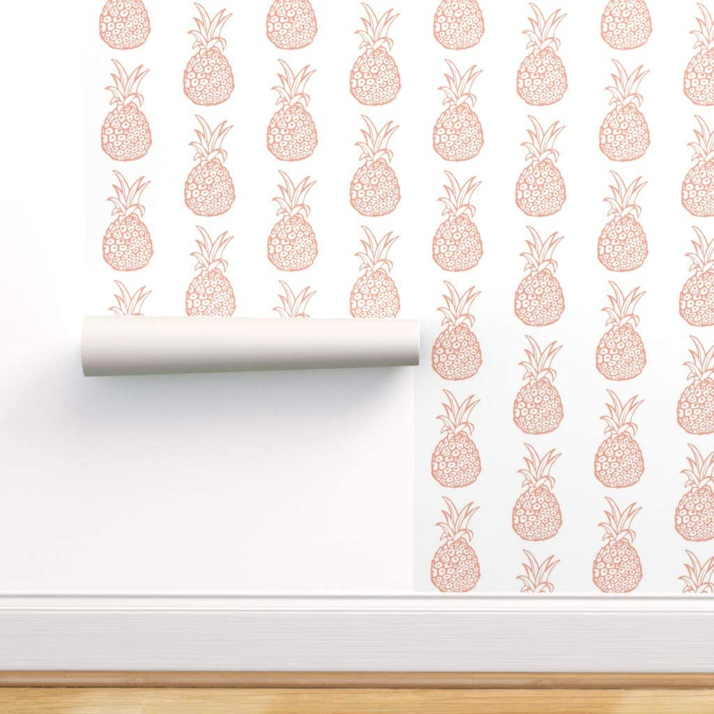 Spoonflower Pre-Pasted Removable Wallpaper, Pineapple Pineapples Cute Pineapples Coral Pink Coral Pineapple Coral and White Coral Print, Water-Activated Wallpaper, 12in x 24in Test Swatch