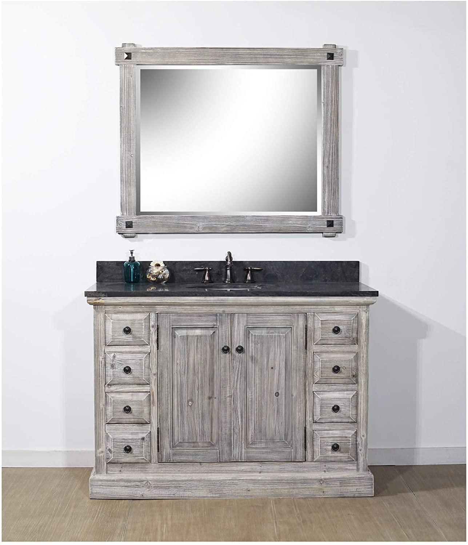 InFurniture WK1848-G+WK TOP Single Sink Bathroom Vanity, Grey Driftwood, 2 Boxes