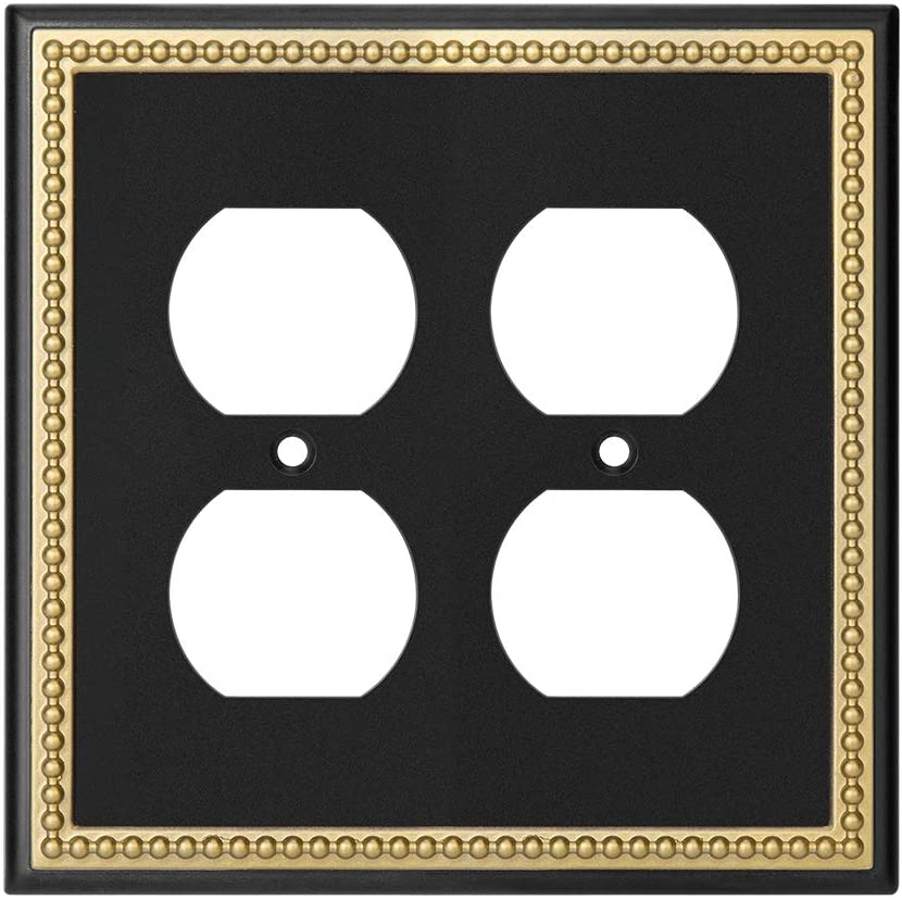 Pearled Frame Decorative Wall Plate Switch Plate Outlet Cover (Double Duplex, Matte Black & Dark Golden)