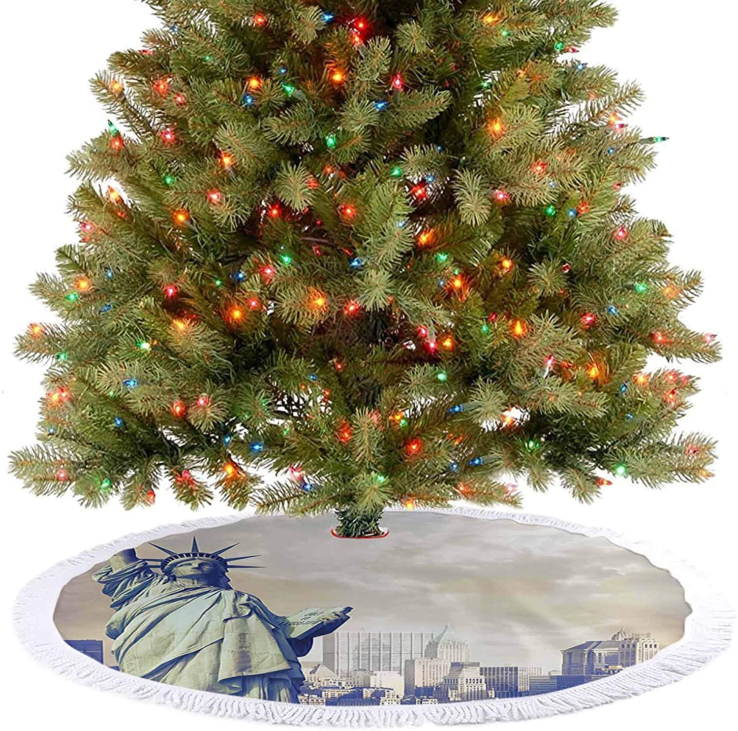 Adorise Xmas Tree Skirts Urban Design Statue of Liberty with New York in The Background Digital Christmas Party Decorations for Holiday Decorations - 48 Inch