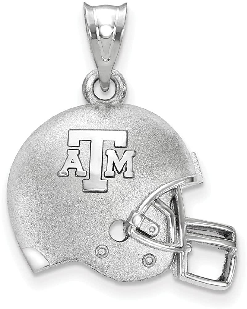 Solid 925 Sterling Silver Texas A&M Football Helmet Pendant (16.9mm x 23.7mm)