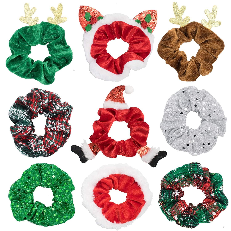 9 Pcs Christmas Hair Scrunchies Holiday Hair Scrunchies Velvet Chiffon Satin, Elk Santa Claus Elastic Plaid Snowflake Hair Tie Ropes, Elastic Hair Bands Christmas Elastics Bobbles for Women Girls