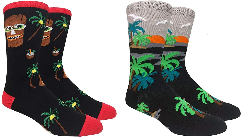 Fine Fit Mens Novelty Print Socks | 2 Pair Set | Trouser Socks | Casual | Crew