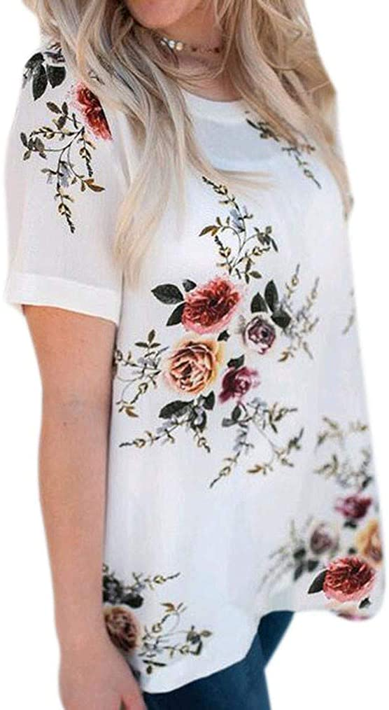 Paixpays Women Short Sleeve Round Neck Loose Casual Floral Printed T-Shirt Pullover Blouse Comfy Tunic Summer Top