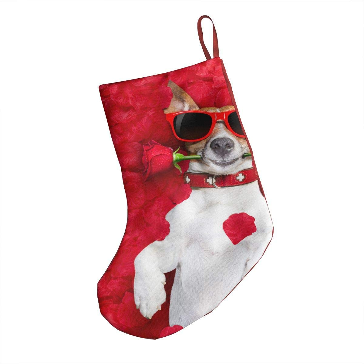 OHMYCOLOR Boston Terrier Dogs Roses Flower Christmas Stockings Socks Candy Gift Card Bags Xmas Stocking Holders, for Santa Claus Snowman Reindeer Tree Decorations Set Festival Party Ornament 18