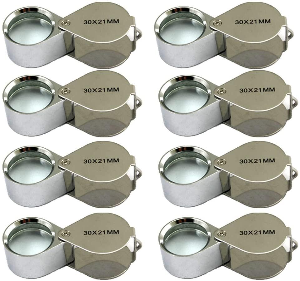 8 Pcs Mini 30X 21mm Jeweler Jeweler's Jewelry Loupe Magnifier Magnifying Glass Silver w/ Box