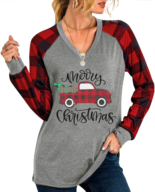 Merry Christmas Baseball T Shirts Women Christmas Long Sleeve Raglan Shirt Christmas Plaid Truck Tree Graphic Top