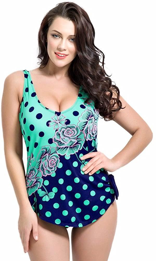 2017 Large Size Sexy Deep V Neck Swimwear Polka Dot Plus Size Swimwear One Piece Swimsuit Women Swimming Suit Beach Wear