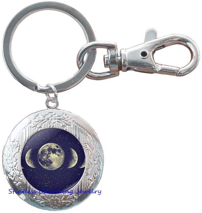 Full Moon Locket Keychain, Full Moon Key Ring, Full Moon Jewelry, Full Moon Charm-JV170