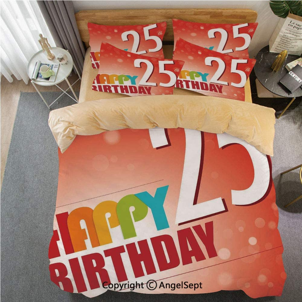 SfeatrutMAT Crystal Velvet Duvet Cover Set 4 Pieces,25th Birthday Decorations,Abstract Background with Colorful Letters Artistic Happy Ceremony,Soft Bedding Set for Winter Warm King Size,Khaki
