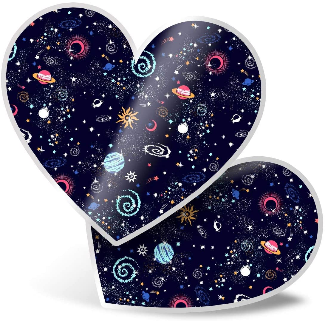 Awesome 2 x Heart Stickers 7.5 cm - Stars Planets Solar System Space Fun Decals for Laptops,Tablets,Luggage,Scrap Booking,Fridges,Cool Gift #13170