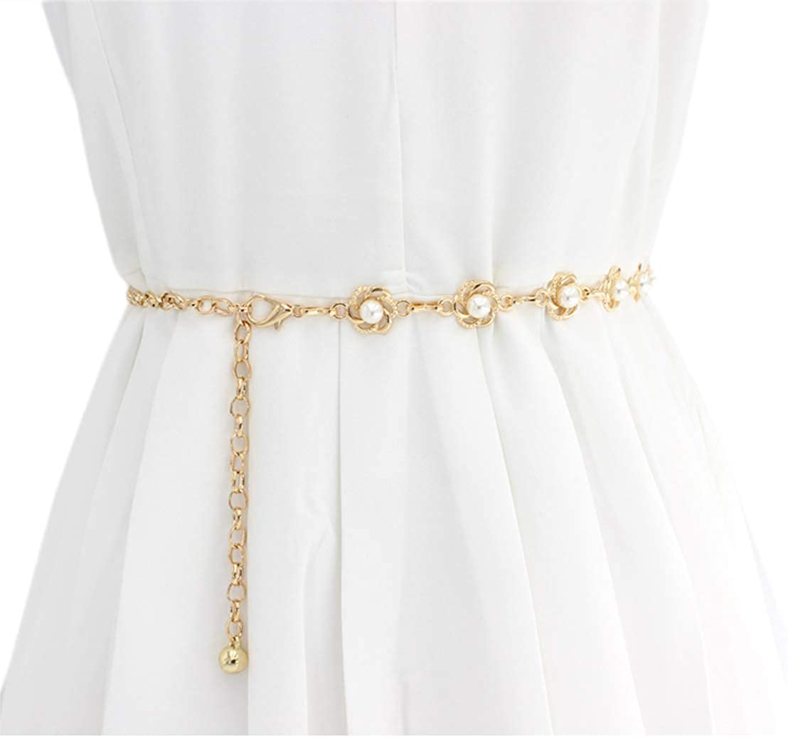 Lady's Faux Pearl Waist Chain Dress Pendant Adjustable Decorative Belt Hollowed Tassel Waist Belts