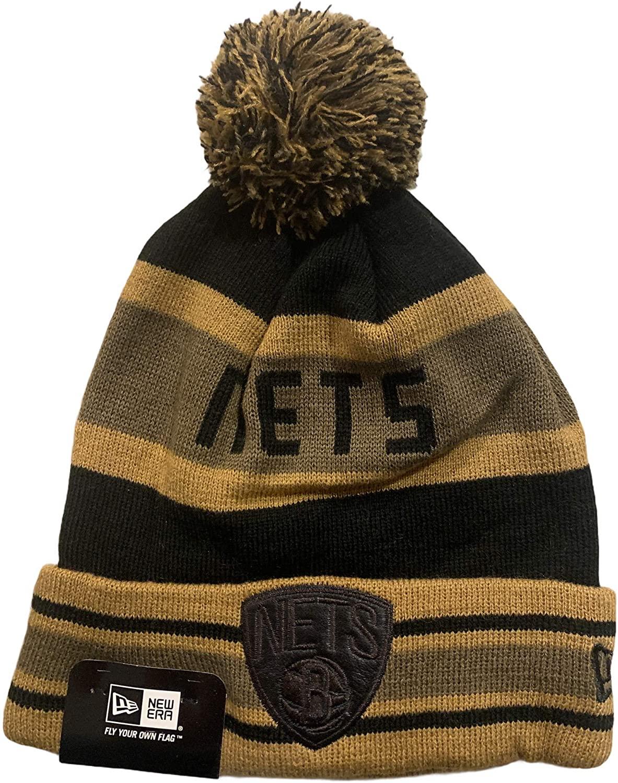 New Era Adult Brooklyn Nets Knit Fold Over Brim Beanie Cap Hat Brown Black