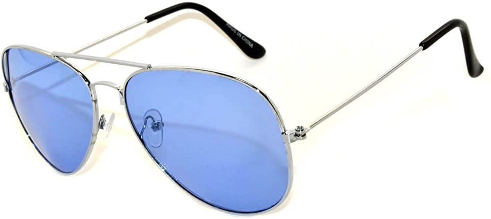 Aviator Classic Sunglasses Black Silver Bronze Gold Blue Green Yellow White. (l Blue)