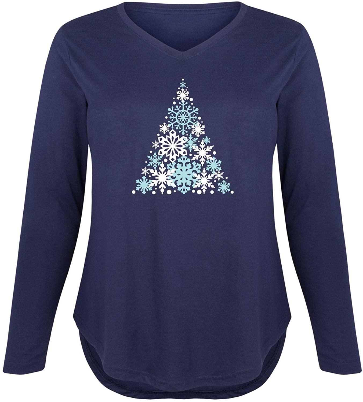 Snowflake Christmas Tree - Women's Plus V-Neck Long Sleeve Graphic T-Shirt