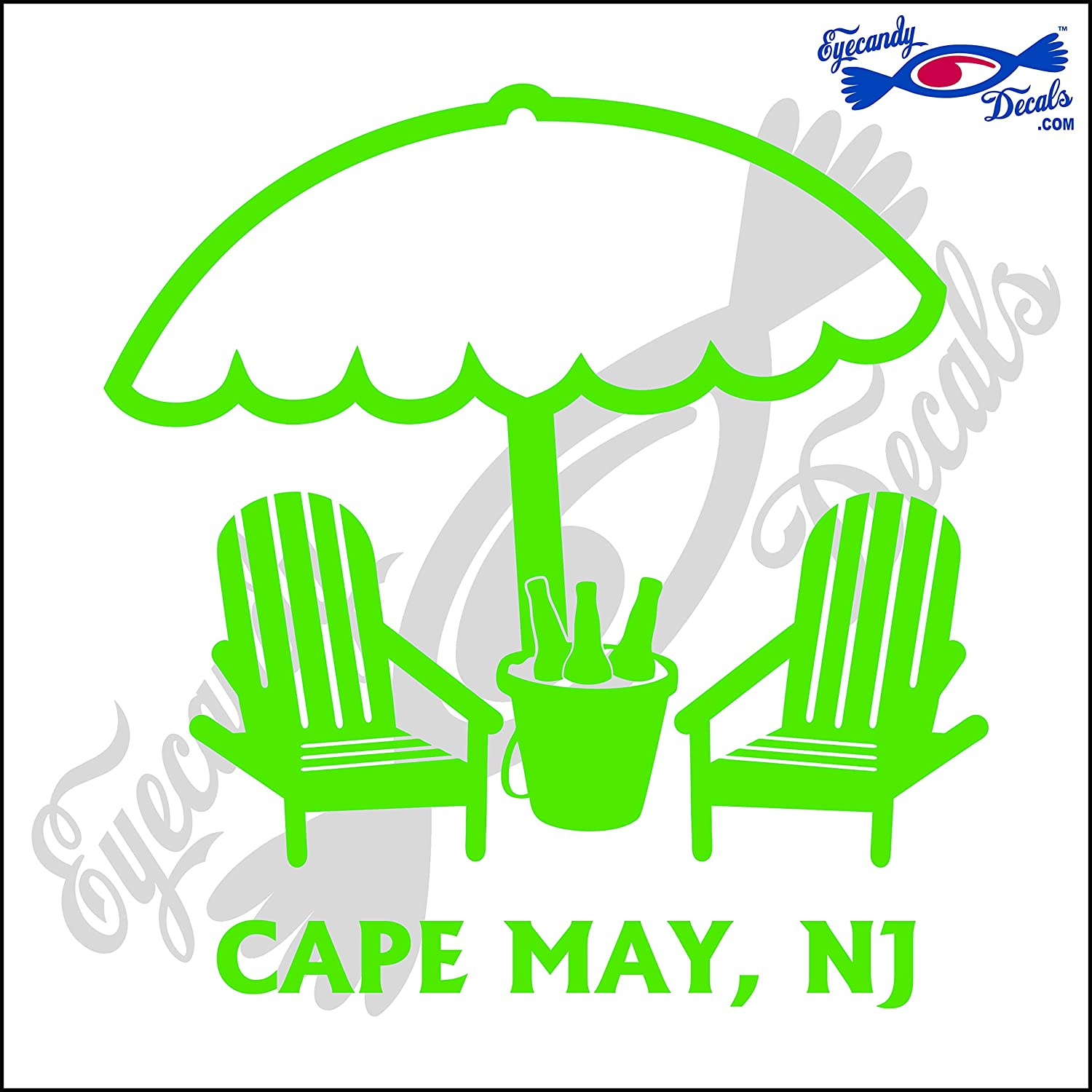 Eyecandy Decals Umbrella and Beer Pail with Cape May New Jersey 6 INCH Decal Lime Green
