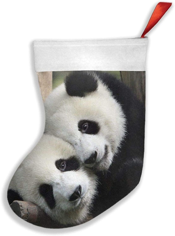 antcreptson Panda Bear Bandana for Rave Christmas Stockings, Big Xmas Stockings, Classic Back Velvety for Xmas Holiday Party Decor
