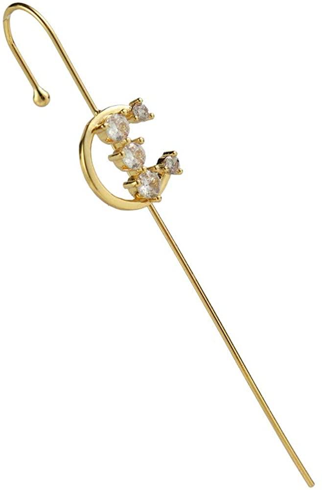 Ear Cuffs Crawler Hook Earrings for Women Gold Piercing Ear Wrap Climbers Earrings Simple Pearl Cubic Zirconia Rhinestone Hoop Earrings