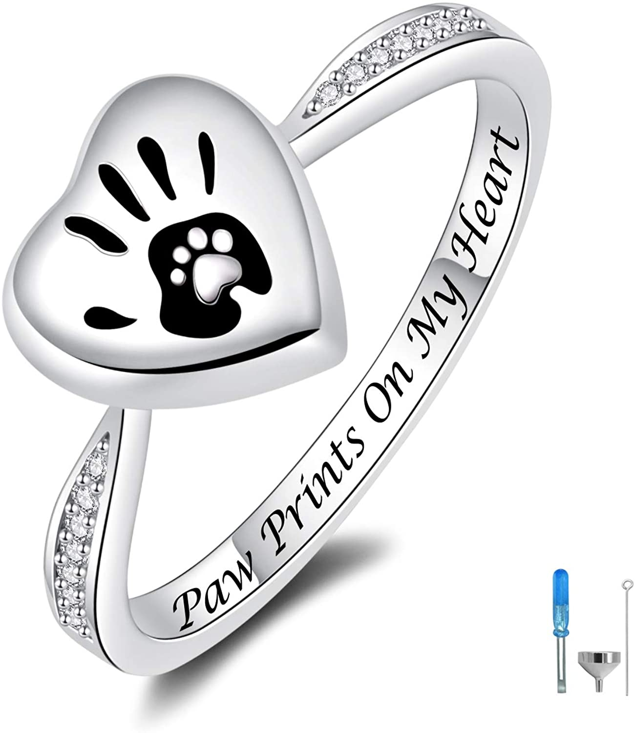JXJL Sterling Silver Memorial Jewelry Rose Flower/Wing/Paw Urn Ring Exquisite Loved One Ashes Keepsake Holder Cremation Funeral Gift Forever Always in My Heart