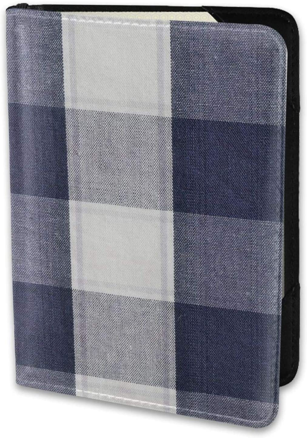 Passport Cover Unusual Blue White And Grey Square Plaid Womens Mens Leather Passport Holder Case Protector Travel