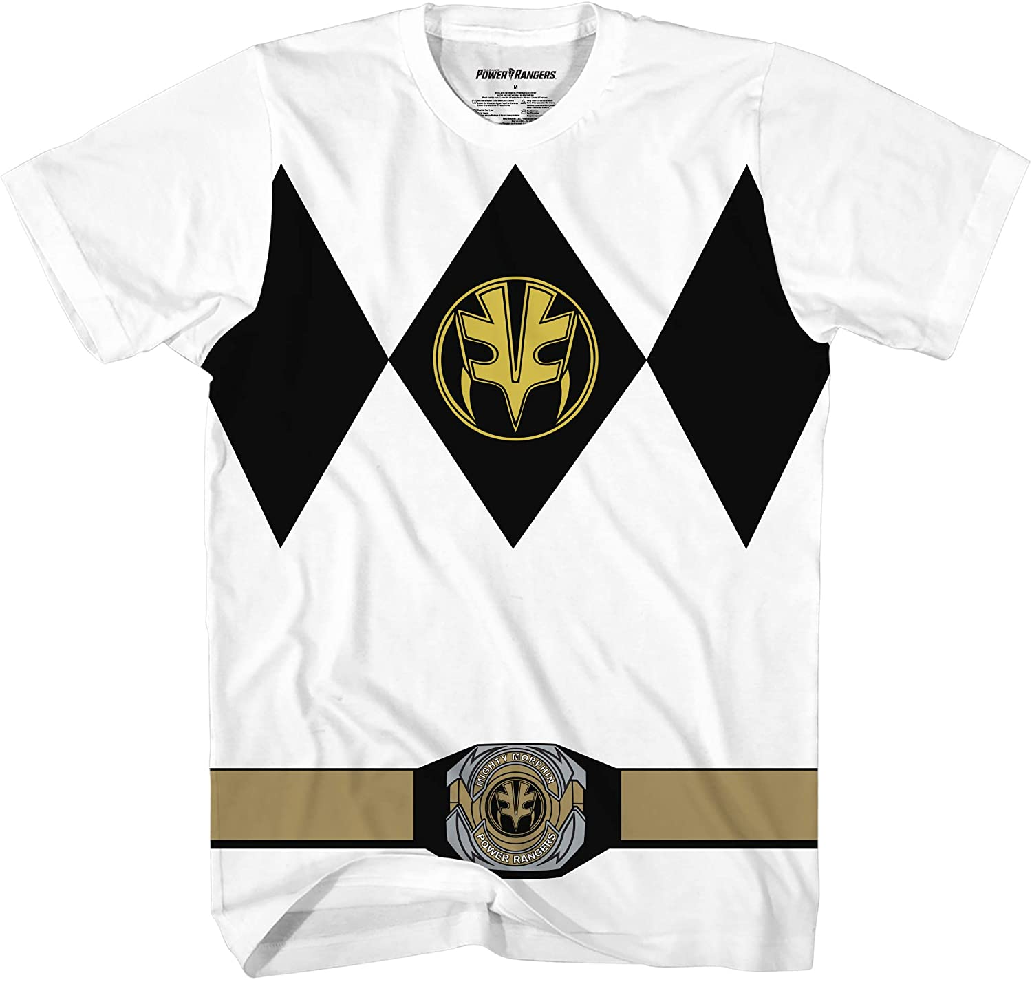 Mighty Morphin Power Rangers Red Blue Yellow Pink Green Black White Blue Costume T-Shirt