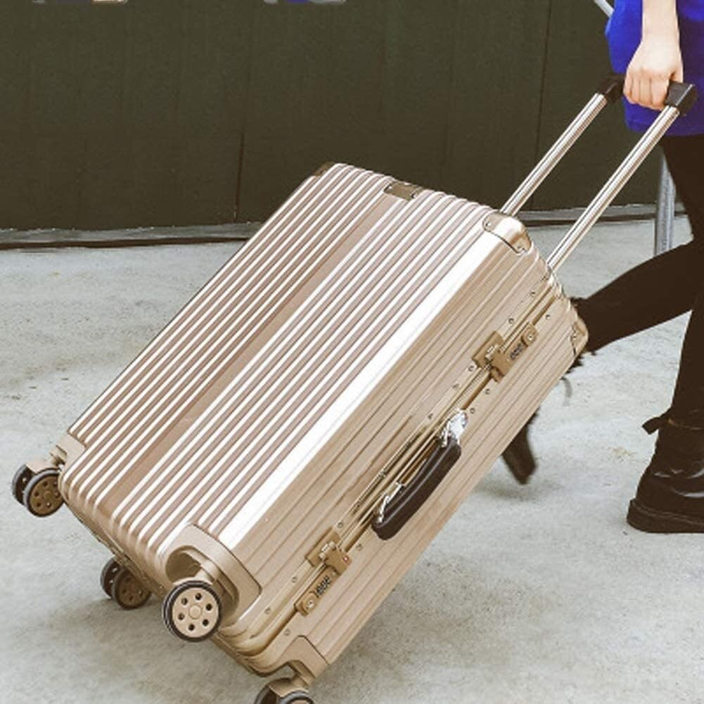 Casters Trolley Case, Sports Suitcase, Thick Aluminum Frame, Retro Stripes, 20/22/24/26/29 Inch, With Universal Wheel And Combination Lock Rotating wheel ( Color : Champagne Gold , Size : 29 inches )