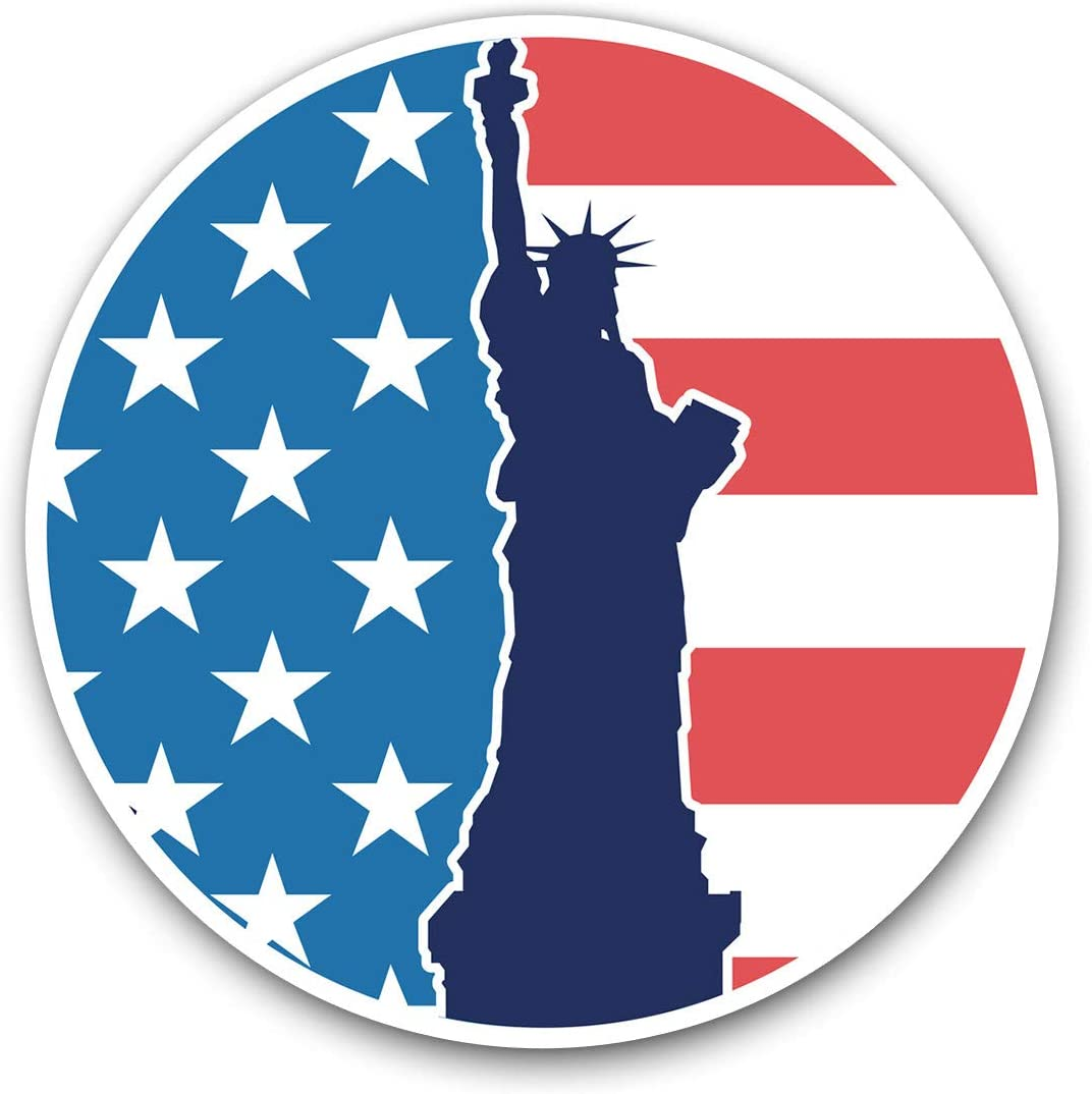 Awesome Vinyl Stickers (Set of 2) 10cm - New York USA Statue of Liberty Fun Decals for Laptops,Tablets,Luggage,Scrap Booking,Fridges,Cool Gift #4344