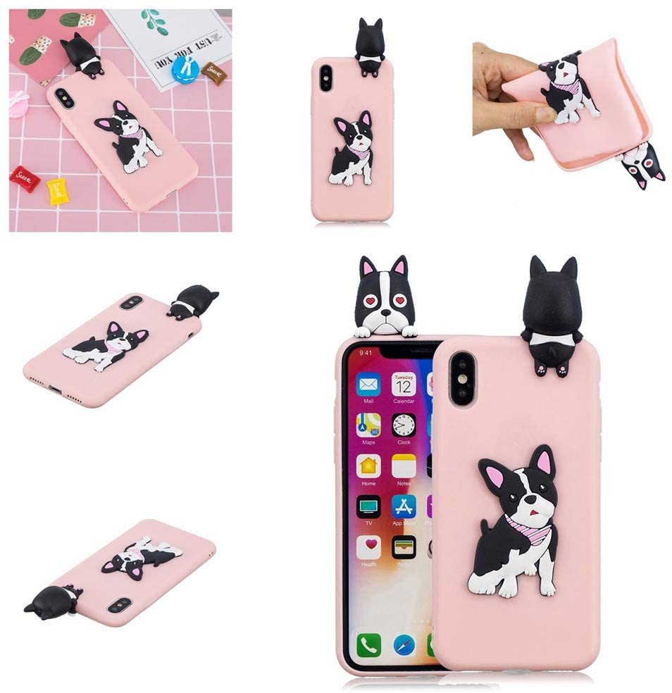FlipBird Cases for iPhone XR, Case Silicone 3D Cute Cartoon Flower Soft TPU Slim Fit Rubber Bumper Protective Gel Cover Shockproof Phone Case for iPhone XR 6.1 Inch Dog