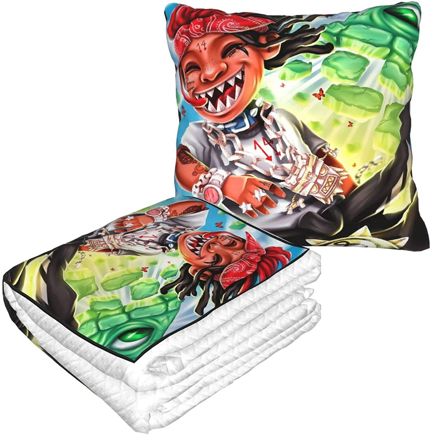 Scbs9gc08 Trippie Redd Travel Blanket and Pillow Premium Soft 2 in 1 Airplane Blanket with Soft Pillow for Car Seat Travel and Neck Support