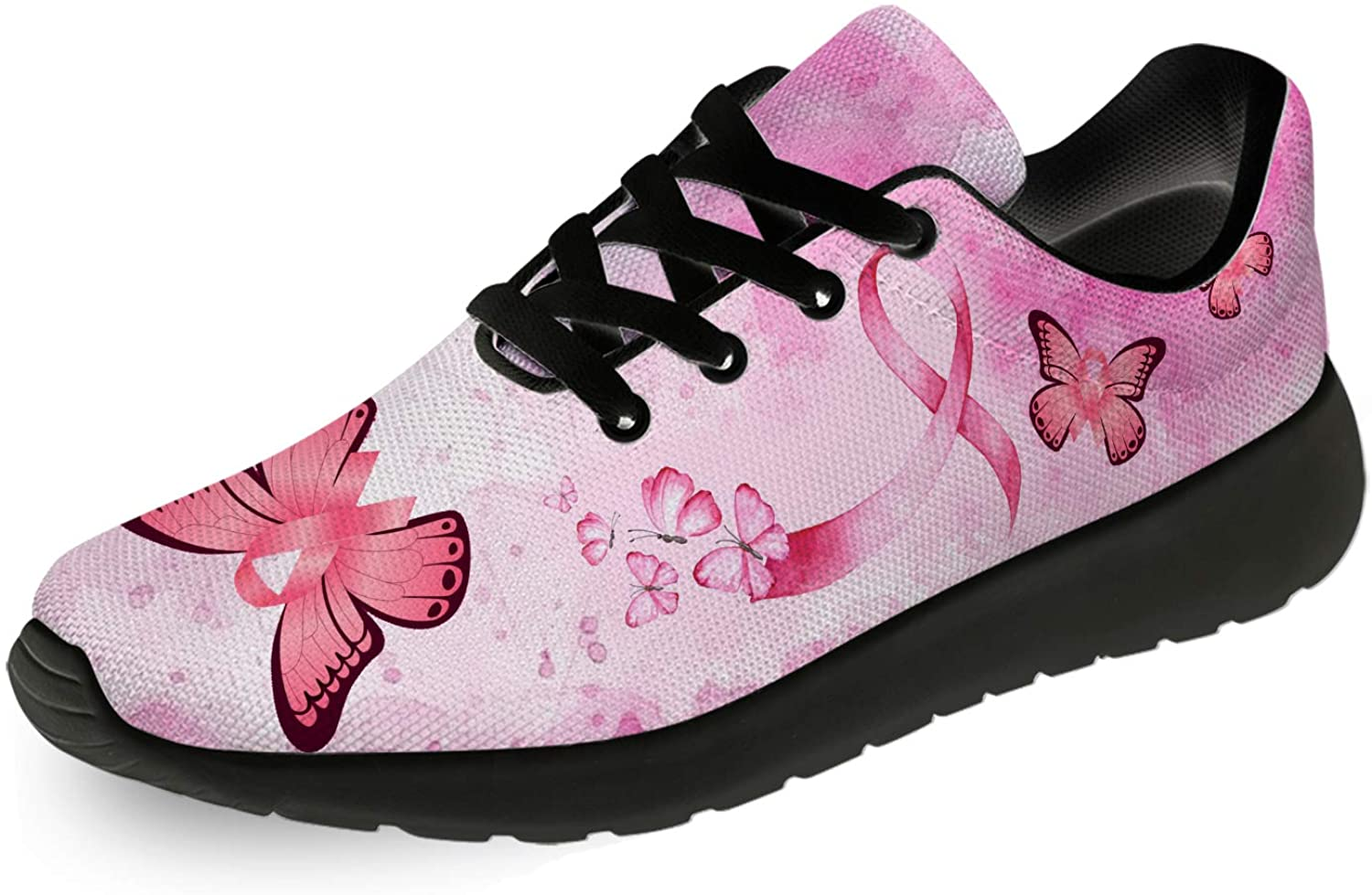 ADKING Women's Breast Cancer Pink Butterfly Running Sneakers Ultra Lightweight Comfortable Walking Shoes