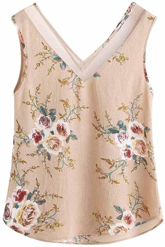 Kangma Women Floral Casual Sleeveless Crop Blouse Cami Shirts Tank Top Khaki