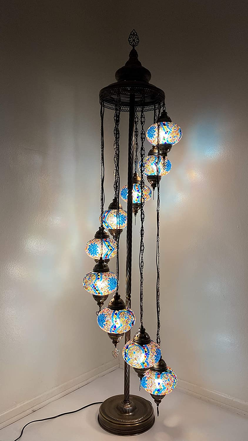 Tiffany Style Mosaic Floor Lamp with Large 9 Globes and Vintage Bronze Frame - Perfect fit for Christmas Lighting (Sky Blue)