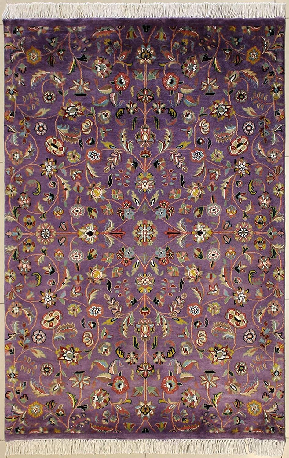 RugsTC 4'0 x 6'0 Pak Persian Area Rug with Silk & Wool Pile - Floral Design | 100% Original Hand-Knotted in Purple,Reddish Brown,Beige Colors | a 4x6 Rectangular Rug